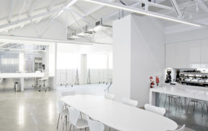 Daylight Studio 6C for Hire in Sydney. Image of kitchen, dining area and makeup station.