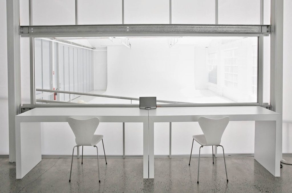 Daylight Studio 6C for Hire in Sydney. Client viewing gallery into Studio 6C