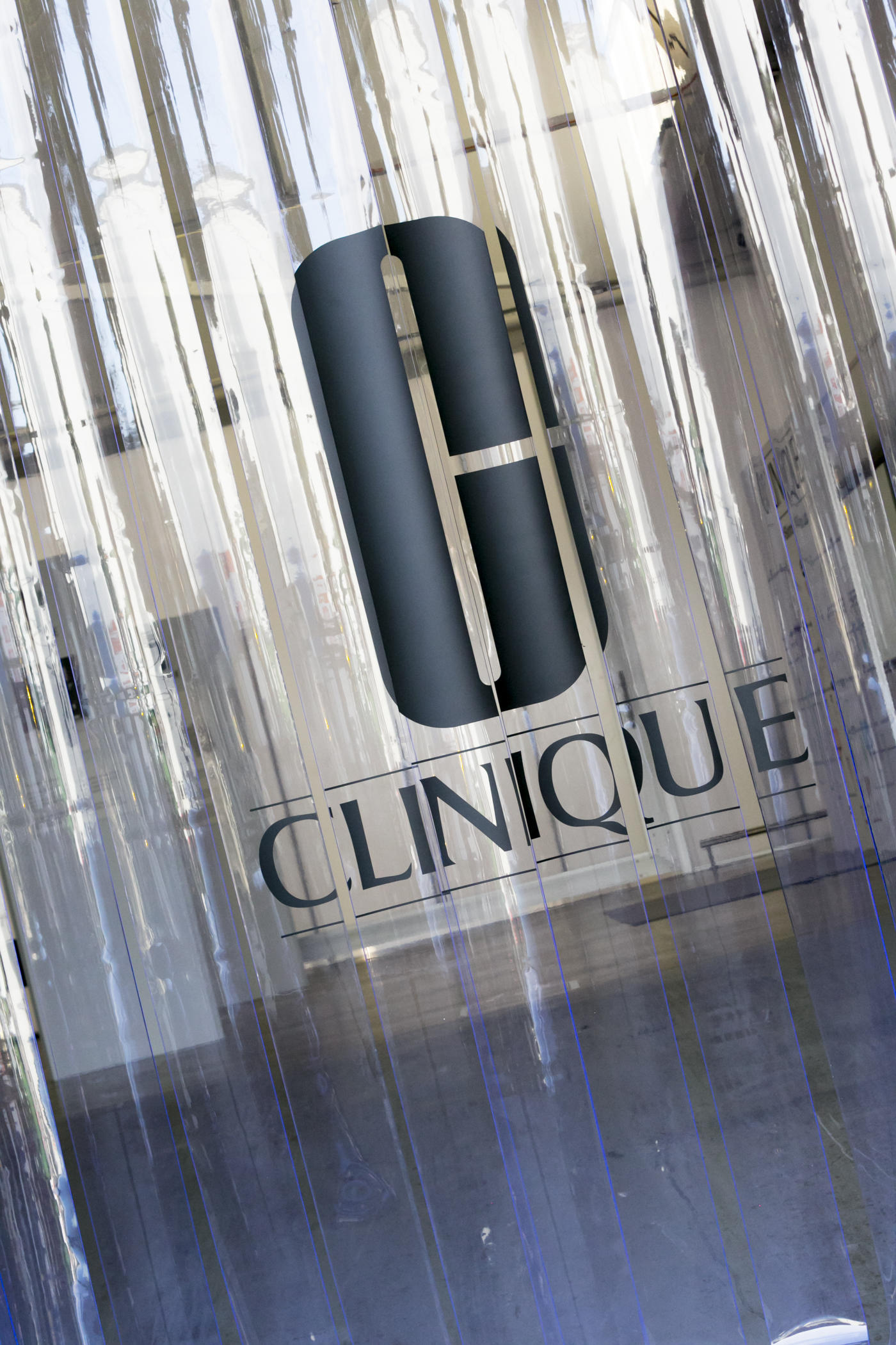 Event Space for Hire Sydney. Photo of PVC strips with Clinique Logo